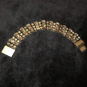 J. Crew Gold, Pink and Pewter Crystal Bracelet OS